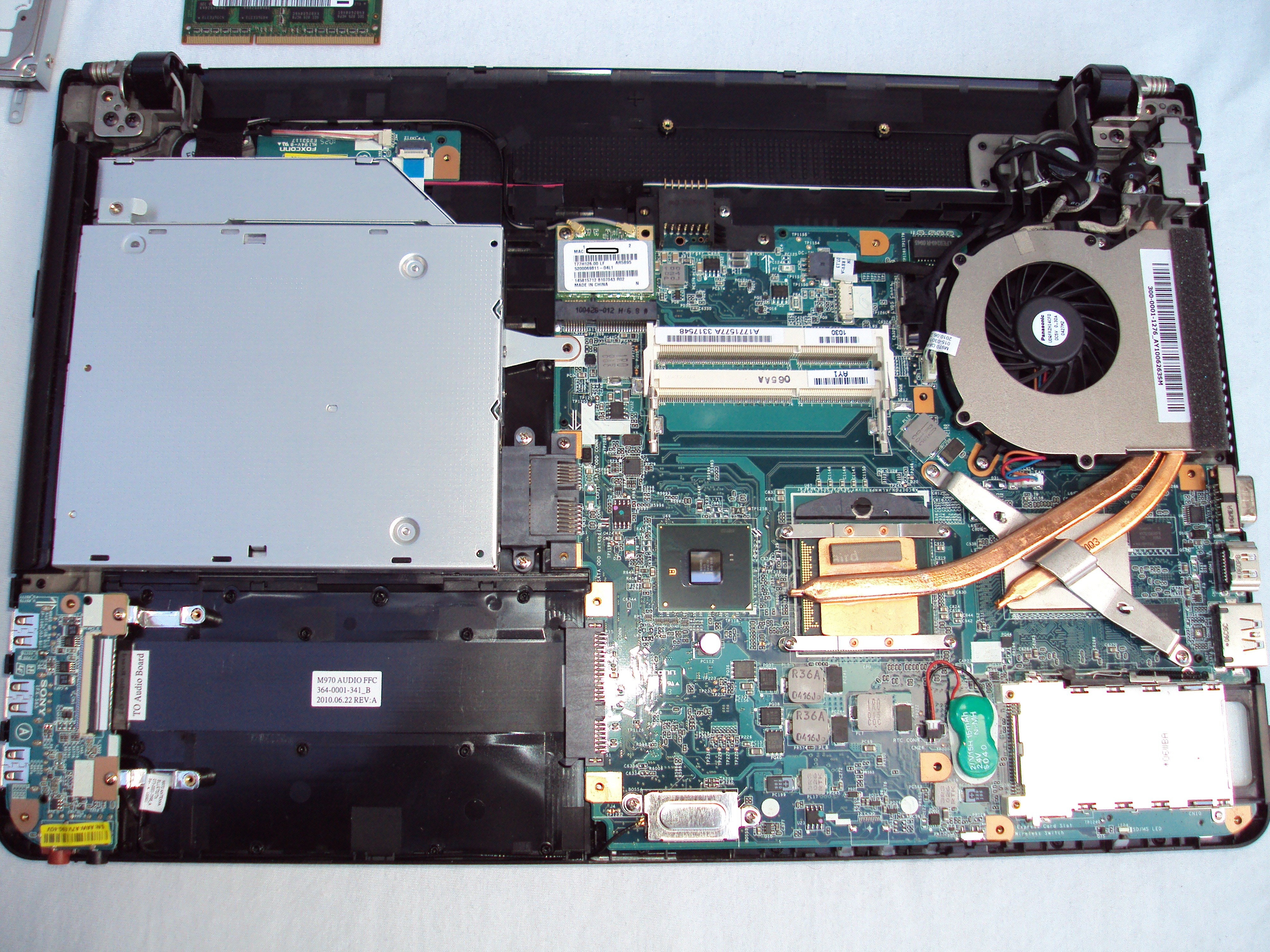 A laptop motherboard