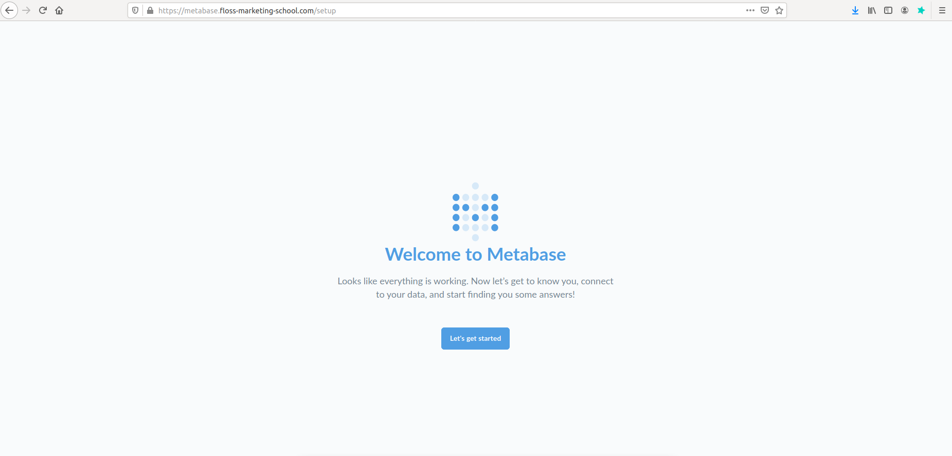 The setup GUI page of Metabase